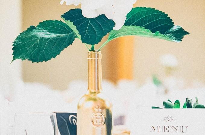 Gold Spray Painted wine bottle vases | seefoodplay.com