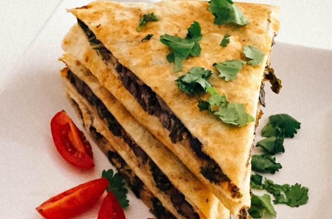 Black bean & kale quesadillas | seefoodplay.com